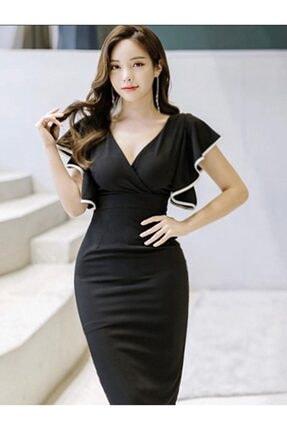 bayansepeti Kadın Siyah Esnek Krep Kumaş Kruvaze Yaka  Mini Elbise 2