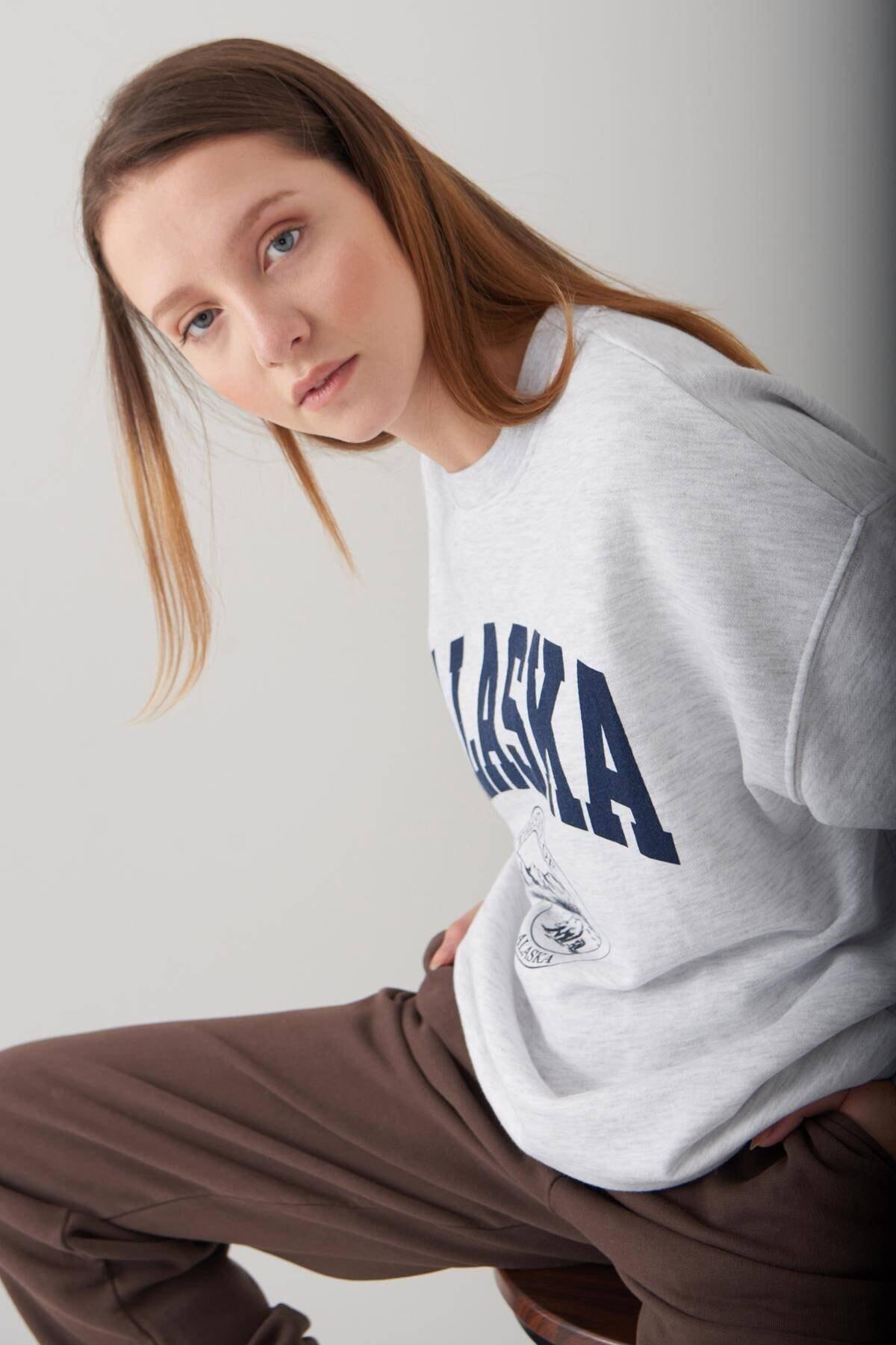 Addax Kadın Kar Melanj Baskılı Sweatshirt S9516 - W4 Adx-0000023575 3
