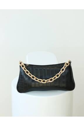 EMNORA Kadın Siyah Mapel Croco Baget Çanta 0