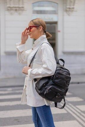 Shule Bags Yıkama Deri Kadın Sırt Çantası Maura Siyah 1