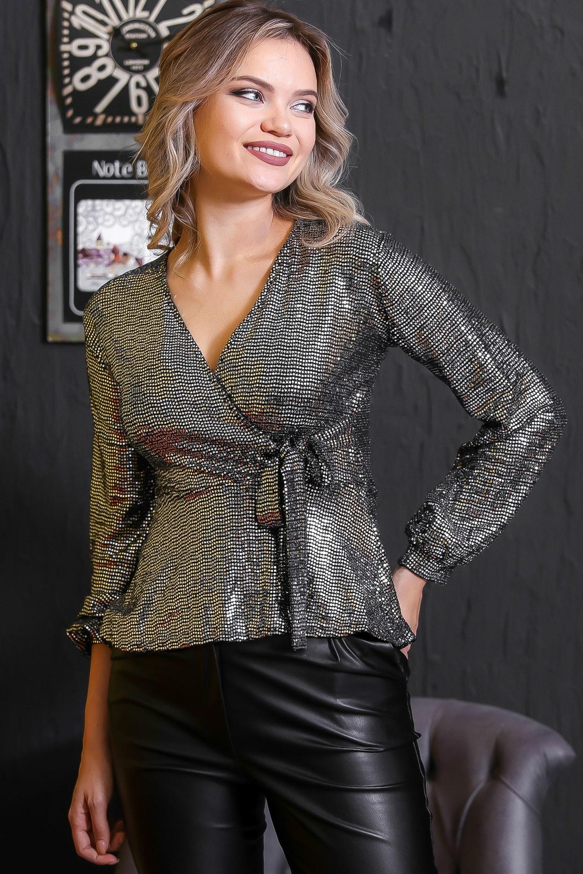 Chiccy Kadın Gümüş Bağlama Detaylı Işıltılı Bluz M10010200BL95672 3