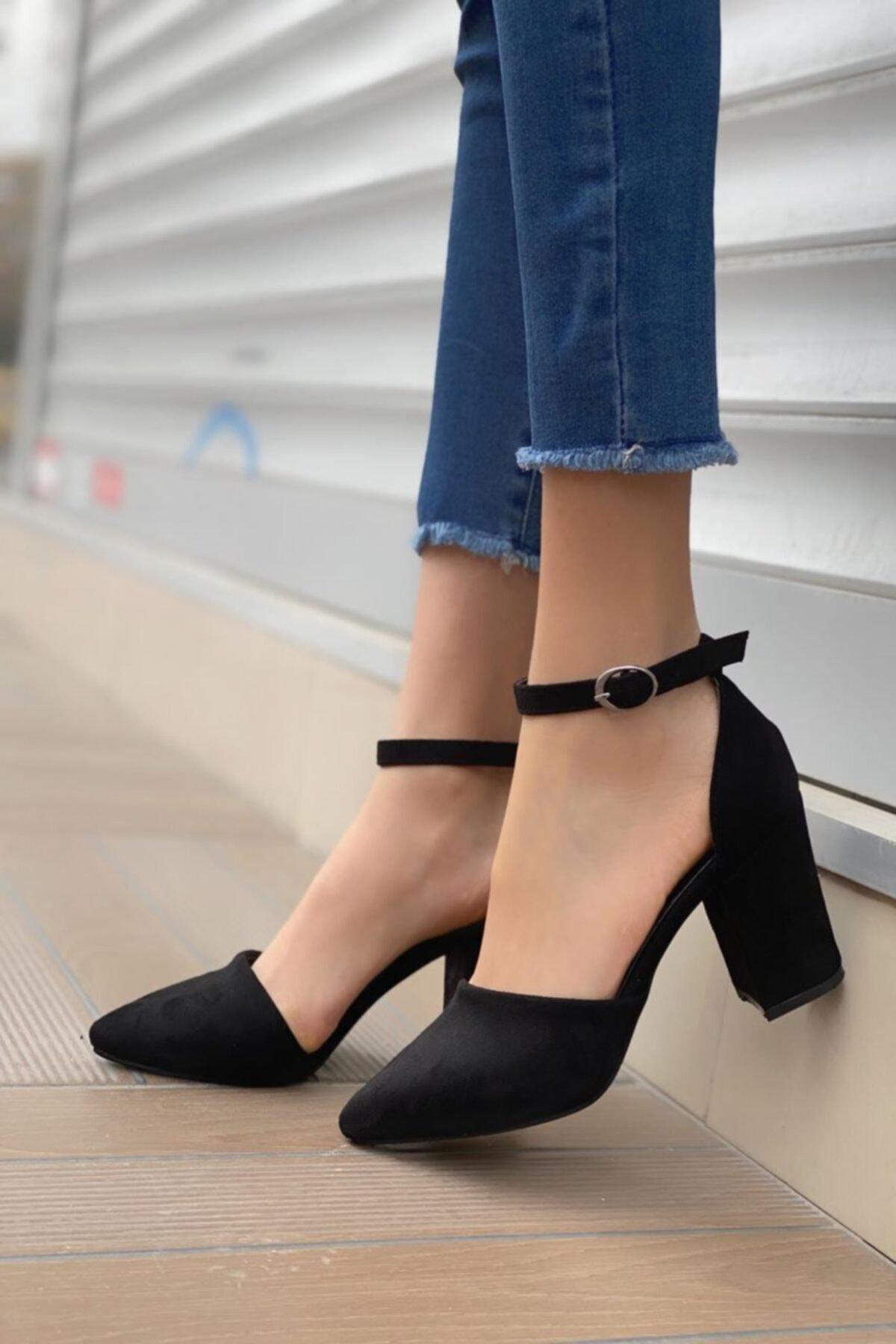 Kadın Siyah Celar Süet Topuklu Ayakkabı