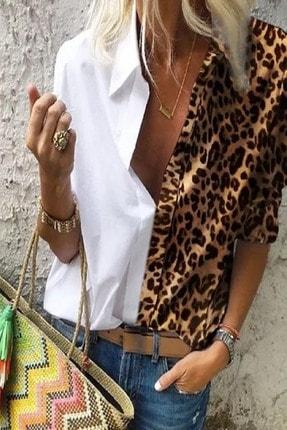 Modayakamoz Kadın Beyaz Leopar Desenli Gömlek 0