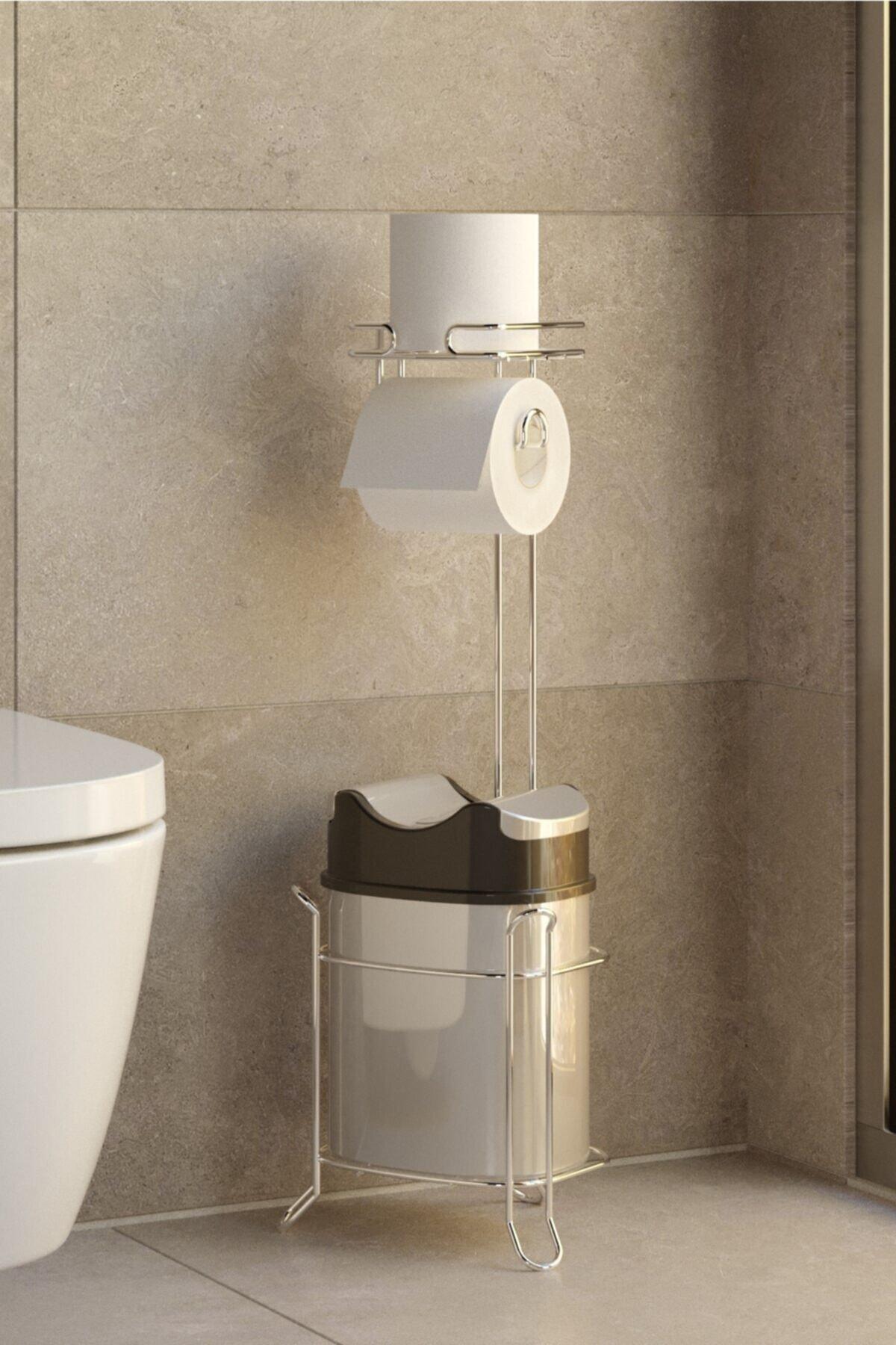 Yutan Kapak Çöp Kova Ve Tuvalet Kağıtlık Krom+gri Mg098