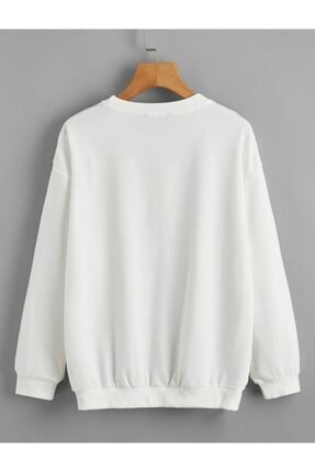 cartoonsshop Unisex Beyaz Düz Basic Sweatshirt 0