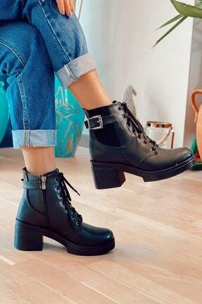 Nil Shoes Siyah Yuvi Cilt Bot 1