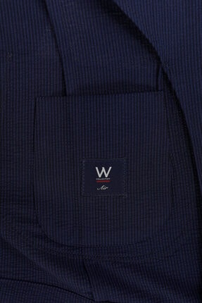 W Collection Erkek Lacivert Mavi Çizgili Blazer Ceket 3