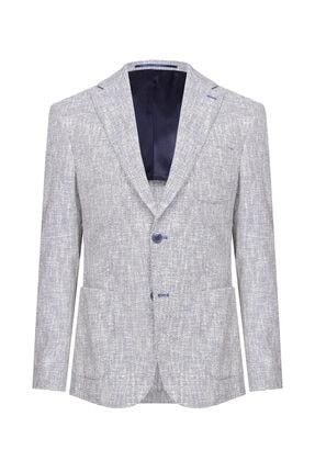 W Collection Erkek Mavi Bayaz Desenli Ceket 0