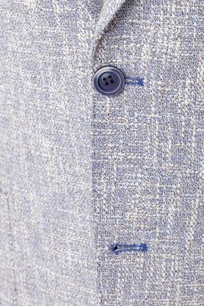 W Collection Erkek Mavi Bayaz Desenli Ceket 4