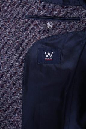 W Collection Erkek Gri Bordo Bukle Blazer Ceket 2