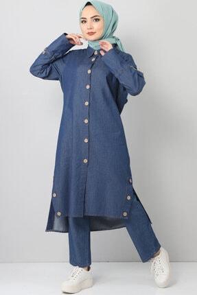 Kadın Mavi Kolları Bağcık Detaylı Kot Alt-Üst Takım TSD0453