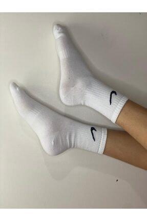 EbrulimEşarp Beyaz Uniseks Uzun Tenis Çorabı 1