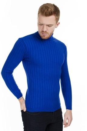 Buratti Erkek Saks Mavi Balıkçı Yaka Lastik Örgü Slim Fit Triko Kazak 549T014 3