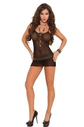 Ünlüreyon Kadın Siyah Fantezi Seksi Babydoll Iç Giyim 1423533