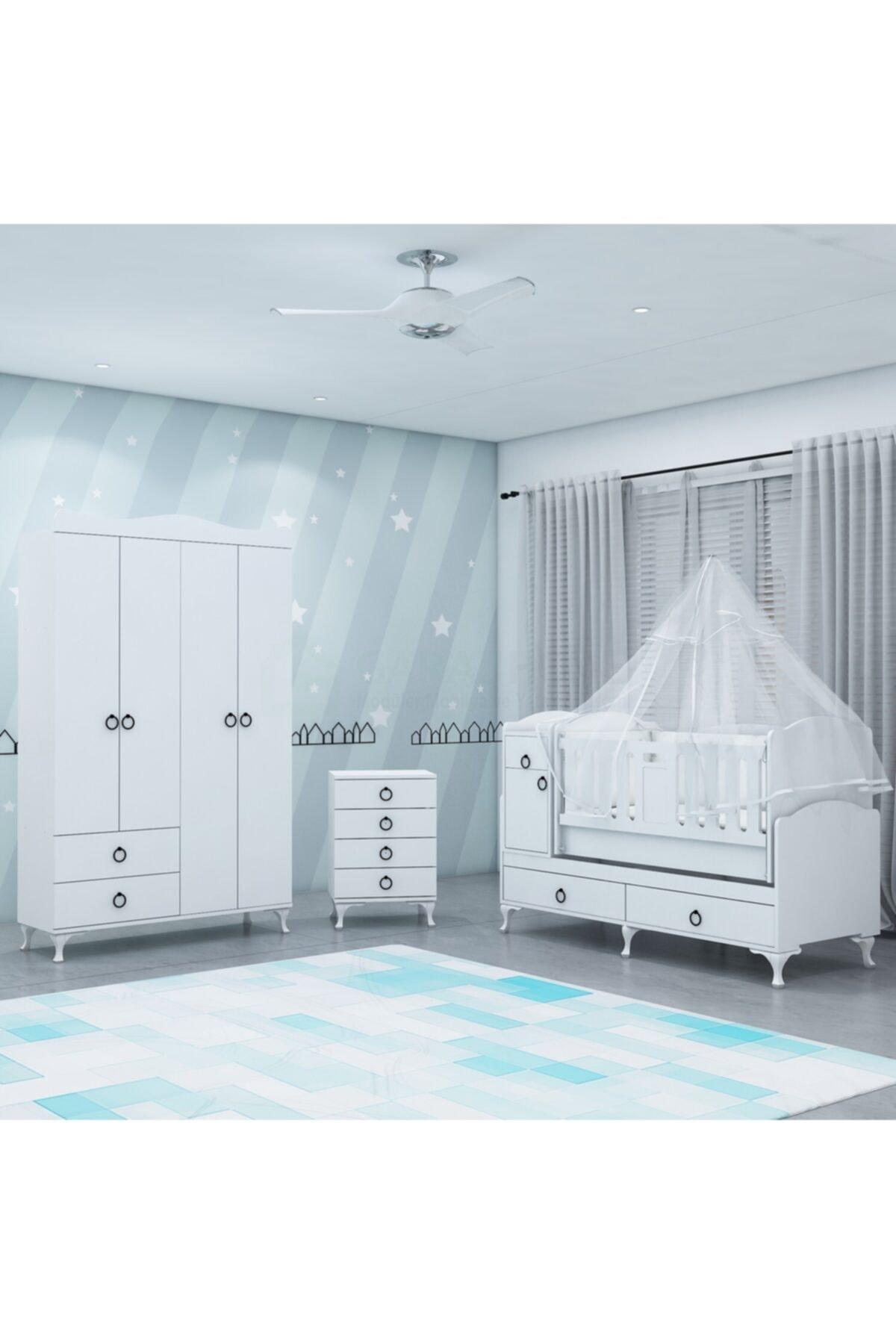 Sude Asansörlü Yıldız 4 Kapaklı Bebek Odası Takımı - Yatak Ve Uyku Seti Kombinli- Uykuseti Beyaz
