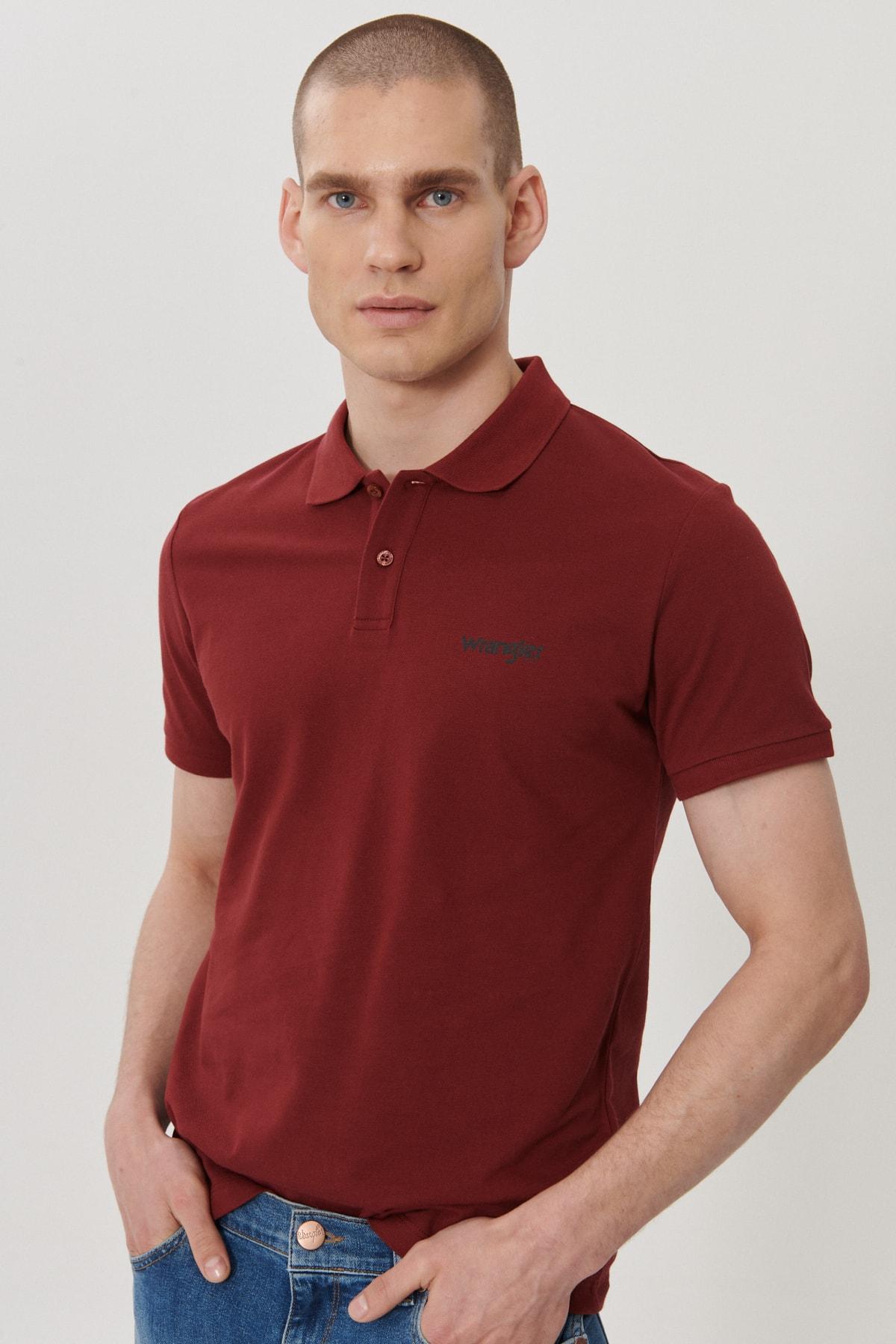 Wrangler Erkek Bordo Regular Fit Polo Yaka T-Shirt 3