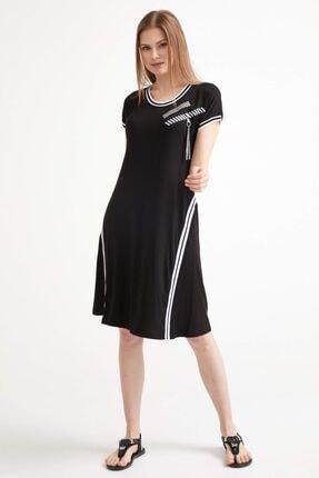 Sementa Kadın Kısa Kol Elbise - Siyah 1