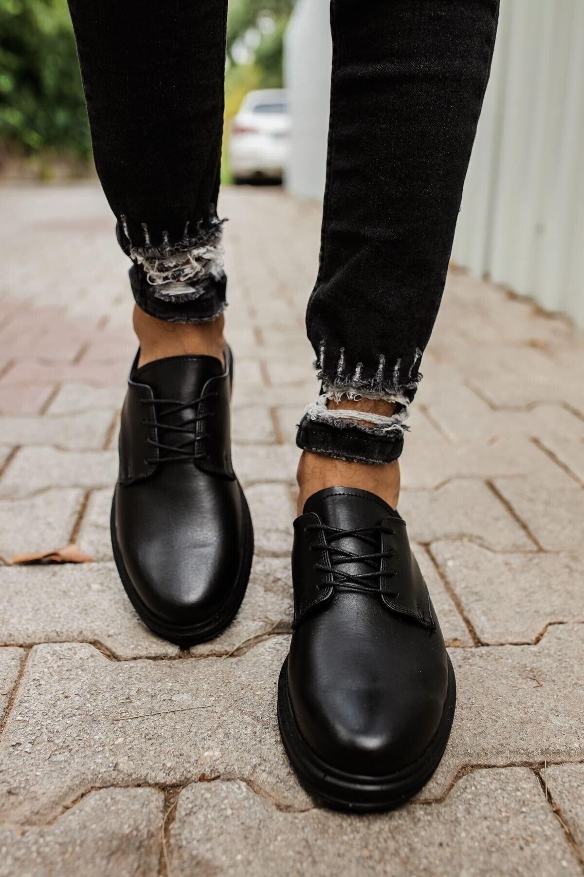 MF MARKA SHOES Erkek Siyah Ortopedik Günlük Ayakkabı
