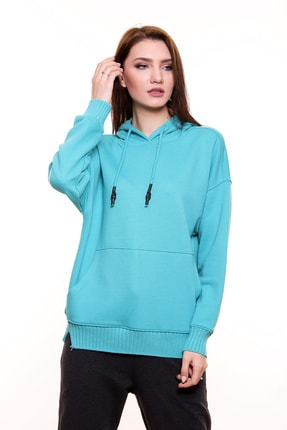 MARIQUITA Kadın Turkuaz Mari Triko Bantlı Kapşonlu Sweatshirt 0