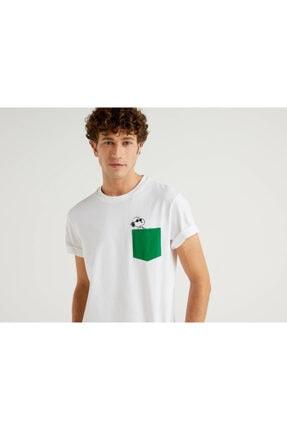 Benetton Erkek Beyaz Snoopy Cep Detaylı T-Shirt 2