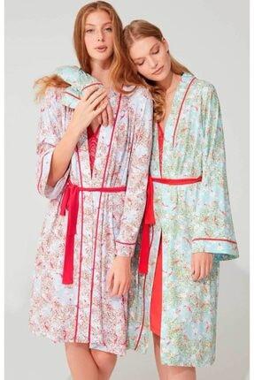 Feyza 3702 Kadın Nar Çiçeği Gecelik Sabahlık Ikili Takım - 2