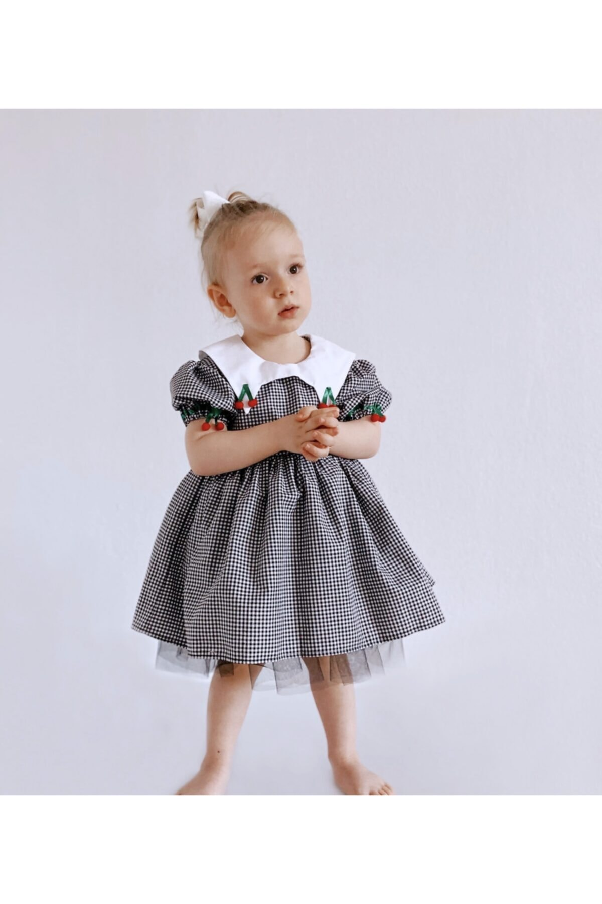 Kirazlı Karpuz Kollu  Elbise