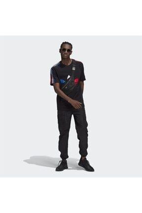 adidas Erkek Siyah Adicolor Tricolor Tişört 3
