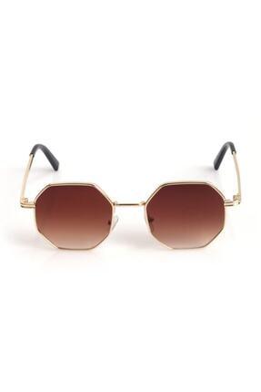 Nilu Moda Unisex Kahverengi Sekizgen Güneş Gözlüğü 0