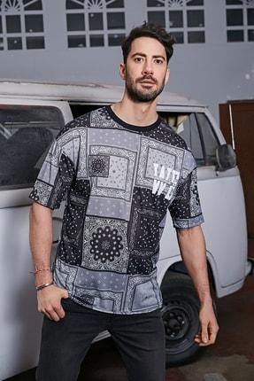 Sateen Men Erkek Siyah Dijital Baskılı T-Shirt 0