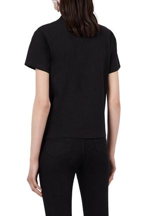 Emporio Armani Kadın Siyah Baskılı Bisiklet Yaka Pamuklu T-shirt 1