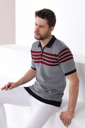 Ferraro Erkek Lacivert Polo Yaka Fermuarlı Pamuk Triko T-shirt 0