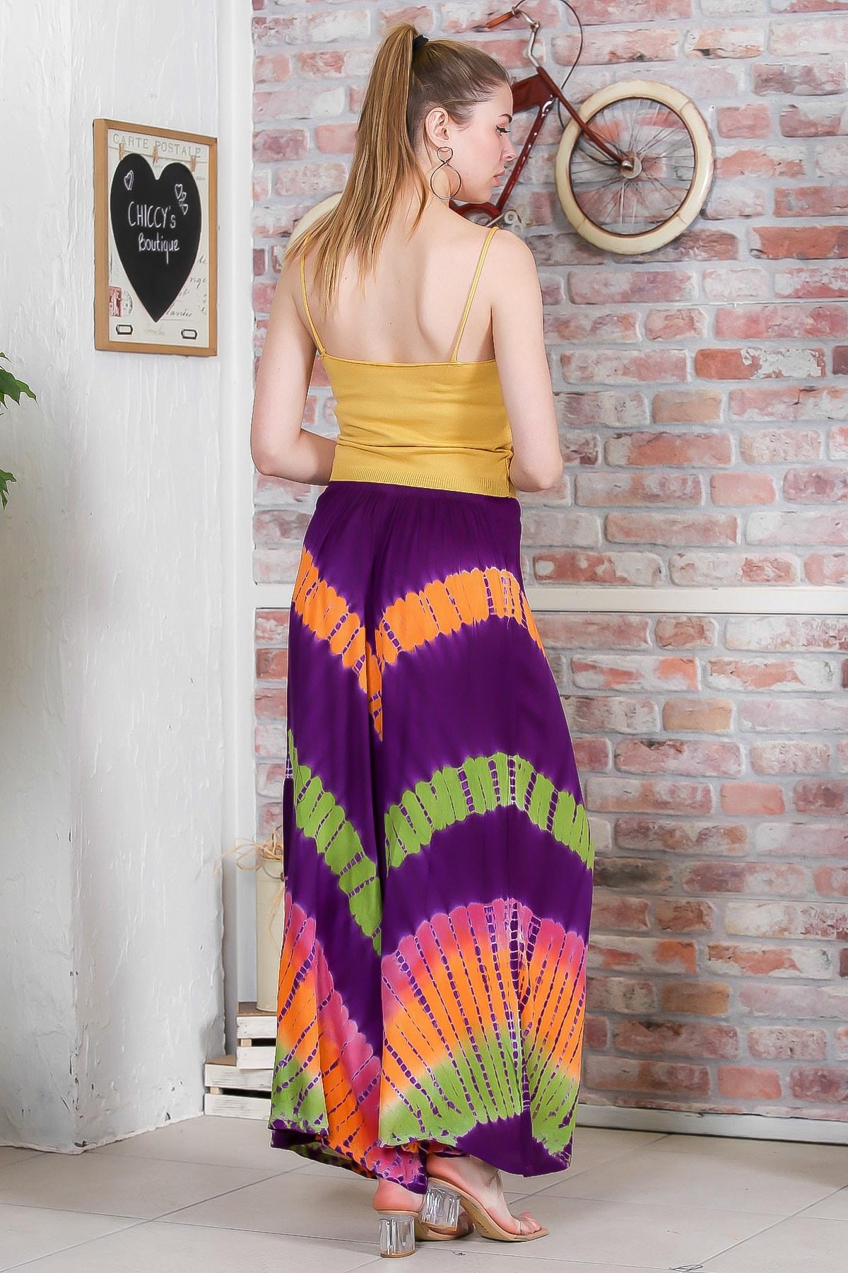 Chiccy Kadın Mor Batik Desenli Bol Paçalı Dokuma Pantolon M10060000PN98897 4