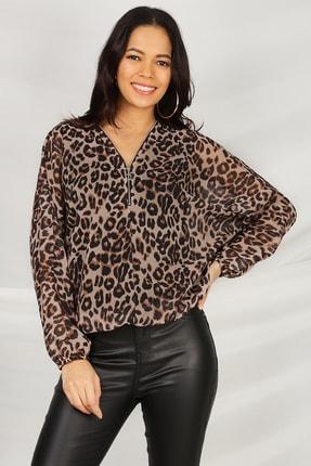 Select Moda Kadın Leopar Desen V Yaka Beli Lastikli Bluz 0