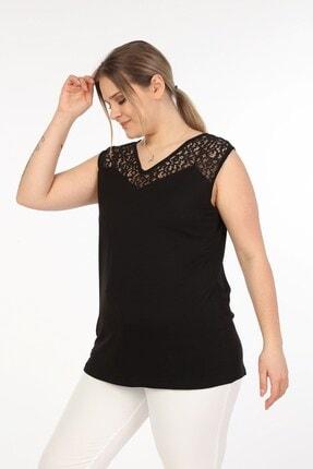 Womenice Kadın Siyah Önü Arkası Dantelli Büyük Beden Bluz 1