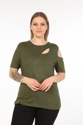 تصویر از Kadın Haki Omuzları Göğüsü Dekolte Büyük Beden Bluz