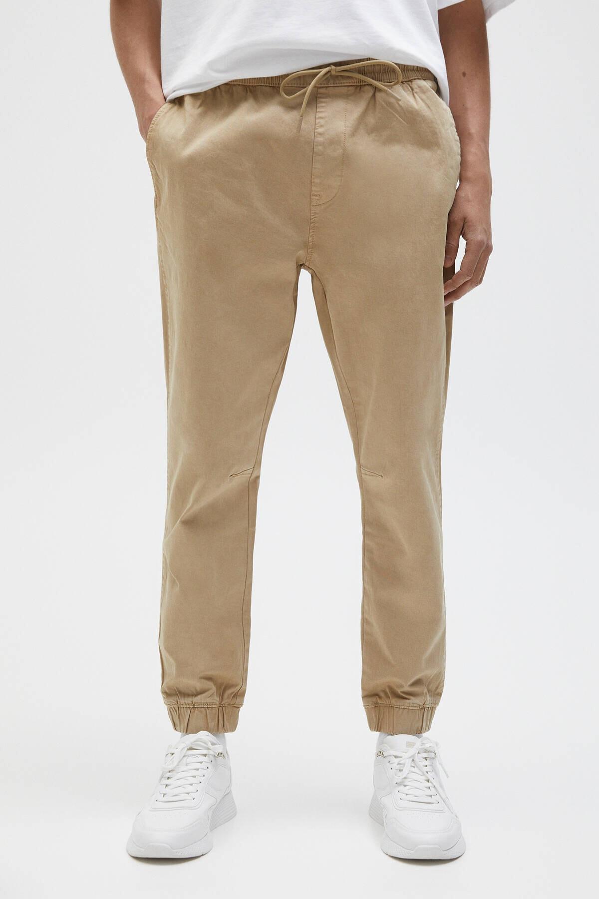 Pull & Bear Erkek Bej Büzgü İpli Basic Jogging Fit Pantolon - En Az %50 Organik Pamuklu 04676525 2