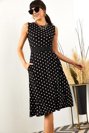Olalook Kadın Siyah Puantiyeli Cepli  Kloş Elbise ELB-19000480 3