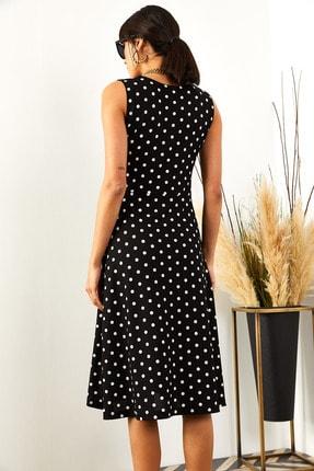 Olalook Kadın Siyah Puantiyeli Cepli  Kloş Elbise ELB-19000480 4