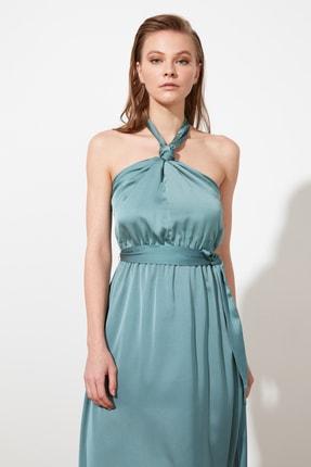 TRENDYOLMİLLA Mint Bağlama Detaylı Saten Abiye & Mezuniyet Elbisesi TPRSS21AE0025 1