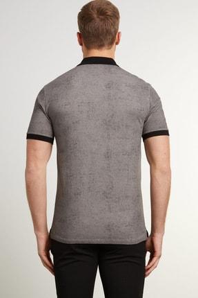 Network Erkek Slim Fit Antrasit Polo Yaka Logolu T-shirt 1078383 3