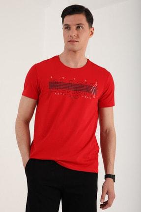 Tommy Life Erkek Kırmızı Black Yazı Baskılı Rahat Kalıp O Yaka T-shirt - 87954 1