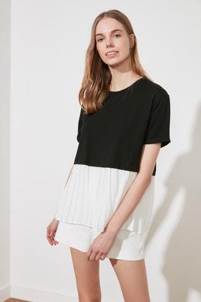 TRENDYOLMİLLA Siyah Piliseli Salaş Örme Bluz TWOSS20BZ1400 4