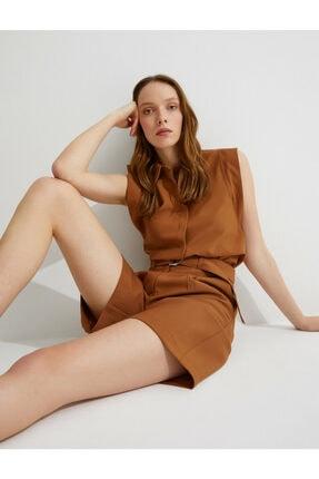 Koton Kadın Kahverengi Kolsuz Gömlek 0