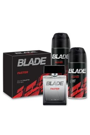 Blade Faster Edt 100ml Erkek Parfüm + 2x150ml Deodorant Set 1742751043409 0
