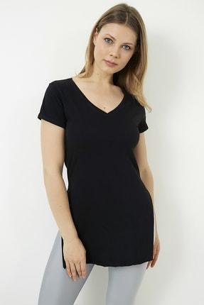 Vis a Vis Kadın Siyah V Yaka Yırtmaçlı Uzun Tshirt 2