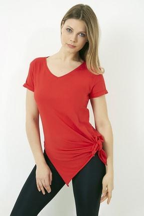 Vis a Vis Kadın Kırmızı V Yaka Yırtmaçlı Uzun Tshirt 4