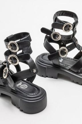 Elle Kadın Siyah Deri Spor Sandalet 3