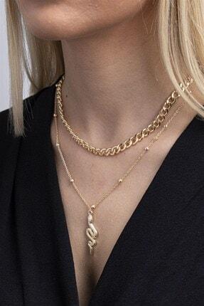 X-Lady Accessories Kadın Altın Rengi Yılan Figürlü Kombin Kolye 087 0