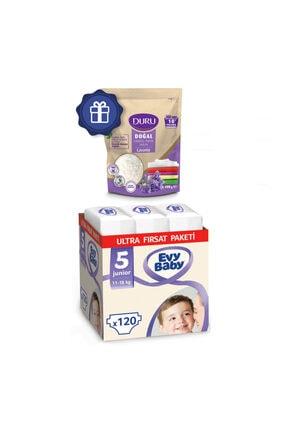 Evy Baby Bebek Bezi 5 Numara Junior Ultra Fırsat Paketi 120 Adet Ve Duru Granül Sabun 400gr 0