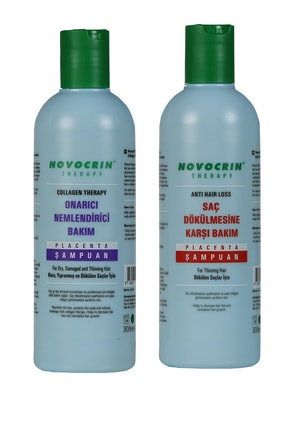 Novocrin Yeni Placenta Saç Dökülmesine Karşı Bakım Şampuanı & Collagen Therapy Şampuan 300 Ml 2 Li Paket 1